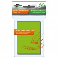 Blackfire Sleeves - Standard Double-Matte Lime Green Sleeves (50) in Standard Size (Magic, LCG игри и др., 63.5x88мм размер на картите)