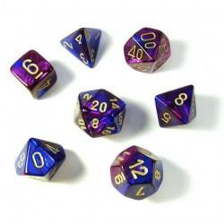 Комплект D&D зарове: Chessex Blue-Purple & Gold в Зарове за игри