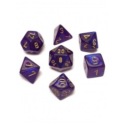 Polyhedral 7-Die Set: Chessex Borealis Royal Purple & Gold in Dice sets
