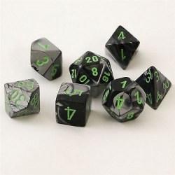 Комплект D&D зарове: Chessex Gemini Black-Grey & Green в Аксесоари / Зарове за игри