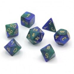 Комплект D&D зарове: Chessex Gemini Blue-Green & Gold в Зарове за игри