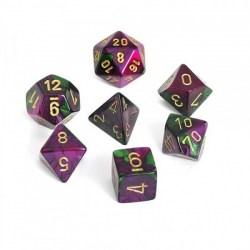 Комплект D&D зарове: Chessex Gemini Green-Purple & Gold в Зарове за игри