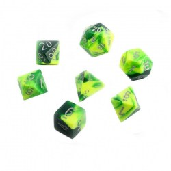 Комплект D&D зарове: Chessex Gemini Green-Yellow & Silver в Зарове за игри