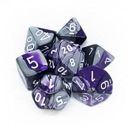 Комплект D&D зарове: Chessex Gemini Purple-Steel & White в Аксесоари / Зарове за игри
