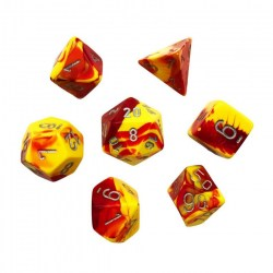 Комплект D&D зарове: Chessex Gemini Red-Yellow & Silver в Зарове за игри
