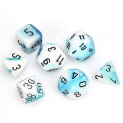 Polyhedral 7-Die Set: Chessex Gemini Teal-White & Black in Dice sets