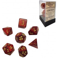 Polyhedral 7-Die Set: Chessex Glitter Ruby & Gold in Dice sets