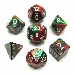 Polyhedral 7-Die Set: Chessex Green-Red & White in Dice sets