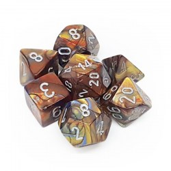 Polyhedral 7-Die Set: Chessex Lustrous Gold & Silver in Dice sets