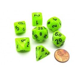 Polyhedral 7-Die Set: Chessex Vortex Bright Green & Black in Dice sets