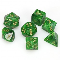 Polyhedral 7-Die Set: Chessex Vortex Green & Gold in Dice sets