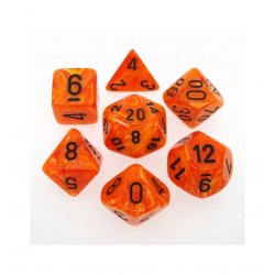 Polyhedral 7-Die Set: Chessex Vortex Orange & Black in Dice sets