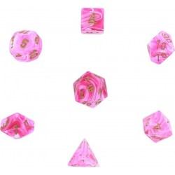 Polyhedral 7-Die Set: Chessex Vortex Pink & Gold in Dice sets