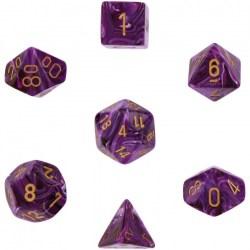 Polyhedral 7-Die Set: Chessex Vortex Purple & Gold in Dice sets