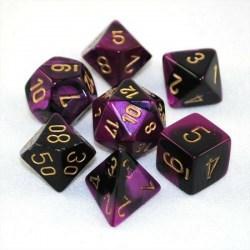 Polyhedral 7-Die Set: Chessex Gemini Black-Purple & Gold in Dice sets