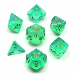 Комплект D&D зарове: Chessex Borealis Light Green & Gold в Зарове за игри