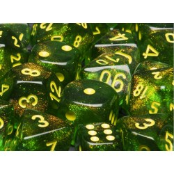 Polyhedral 7-Dice Set: Chessex Borealis Maple Green & Yellow in Dice sets
