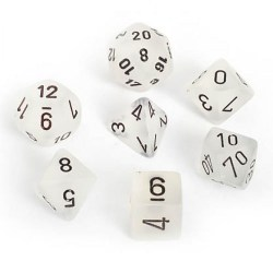 Polyhedral 7-Die Set: Chessex Frosted Clear & Black in Dice sets