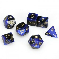 Polyhedral 7-Dice Set: Chessex Gemini Black/Blue & Gold in Dice sets