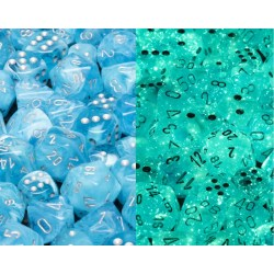 Polyhedral 7-Dice Set: Chessex Luminary Sky & Silver (Glowing/Sparkle) in Dice sets