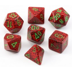 Polyhedral 7-Die Set: Chessex Speckled Strawberry in Dice sets