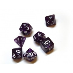 Dice 4 Friends Polyhedral 7-Die Set: Confetti Dark Purple in D&D Dice Sets