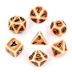 Hengda Polyhedral 7-Die Set: Antique Brown in Dice sets