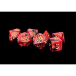 Metallic Dice Games - Red/Black with Gold Numbers 16mm Poly Dice Set in D&D Dice Sets