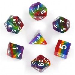 Metallic Dice Games - Rainbow (Translucent) 16mm Poly Dice Set in D&D Dice Sets