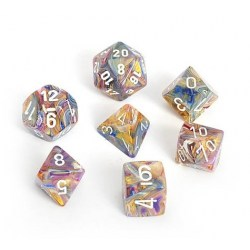 Polyhedral 7-Dice Set: Chessex Festive Carousel & White in Dice sets