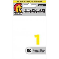 Протектори за карти Legion Supplies Board Game Sleeve 1 - Mini American за 44x67мм карти (50 броя плътни, прозрачни)
