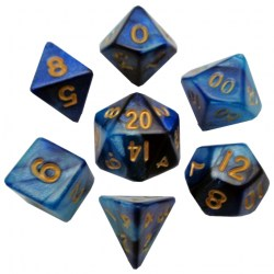 Metallic Dice Games - Blue and Light Blue with Gold Numbers 10mm Mini Polyhedral Dice Set in D&D Dice Sets
