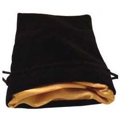 "Velvet Dice Bag - Black with Gold Satin Lining 4x6"" (10*15cm)"