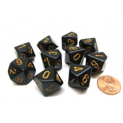 Chessex Black/Gold Opaque d10 Set in Dice sets