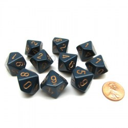 Chessex Blue/Copper Dusty Opaque d10 Set in Dice sets