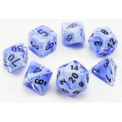 Polyhedral 7-Die Set: Chessex Lab Dice Vortex - Snow Blue and Black in D&D Dice Sets
