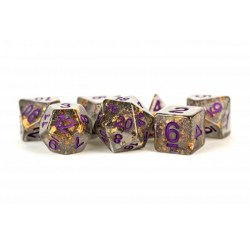 MDG Games: Gold Foil Polyhedral Dice Set - Grey with Purple Numbers in D&D Dice Sets