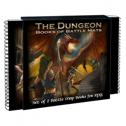 "Loke Battle Mats: The Dungeon Books of Battle Mats (2x 12x12"" books, 40 pages each) in Pathfinder Terrain"