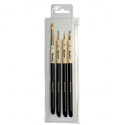 Roubloff Fine-Art Brush - Set Miniature 2 - miniatures painting brush set (0, 1.5, 2 flat, 4 drybrush) in Brushes, paints and more