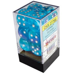 Комплект D6 зарове: Chessex Luminary Glow Sky & Silver 12 броя 16mm в Зарове за игри