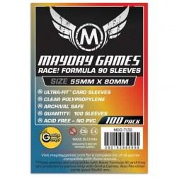 """Протектори за карти 55x80мм Mayday """"Race! Formula 90"""" Card Sleeves - Ultra Fit (100 броя, прозрачни, тънки) в Други размери"""