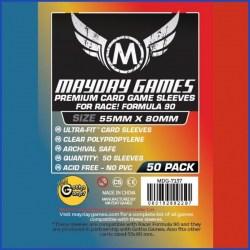 """Протектори за карти 55x80мм Mayday """"Race! Formula 90"""" Premium Card Sleeves - Ultra Fit (50 броя, прозрачни, плътни) в Други размери"""