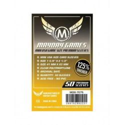 Протектори за карти Mayday 41x63мм Mini American Board Game Premium Card Sleeves (50 броя плътни, прозрачни) в Chimera Size (41x63, 43x65 мм)