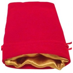 "Velvet Dice Bag - Red with Gold Satin Lining 4x6"" (10*15cm)"