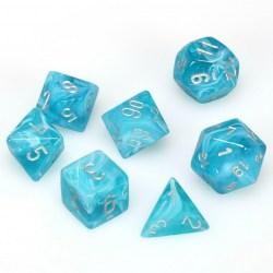 Комплект D&D зарове: Chessex Cirrus Aqua & Silver в Зарове за игри