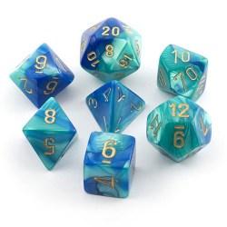 Комплект D&D зарове: Chessex Gemini Blue-Teal & Gold в Зарове за игри