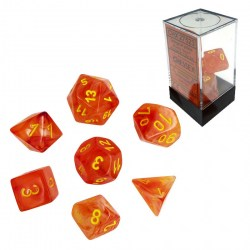 Polyhedral 7-Die Set: Chessex Ghostly Glow Orange & Yellow (Glowing) in Dice sets
