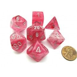 Комплект D&D зарове: Chessex Ghostly Glow Pink & Silver (светещи) в Зарове за игри
