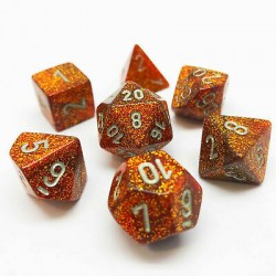 Polyhedral 7-Die Set: Chessex Glitter Gold & Silver in Dice sets