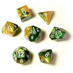 Polyhedral 7-Die Set: Chessex Gold-Green & White in Dice sets